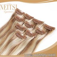 Wholesale Neitsi inch P18 g clip pc Clip in Hair Extensions Straight Clip in Human Hair European Hair Fashion Clip in Extensions