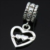 Hearts, Love flat ring - New Fashion Hearts Pendant Charms Sterling Silver Beads Ring For Necklace European Charm DIY Bracelets Snake Chain