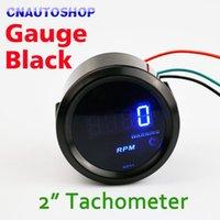 Wholesale Car Tachometer quot mm RPM Auto Gauge TAC Meter Tacho Blue LED Digital Display for V Vehicles order lt no track
