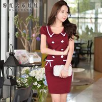 Wholesale DABUWAWA Lady s Crimson Elegant Color Mixed Puff Sleeve Lapel Neck Rose Buttons OL Dress