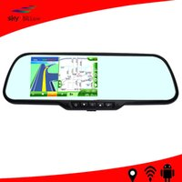 Cheap 2015 Wholesale Android 4.4 gps Car Rear View Mirror dvr Camera with G-sensor and motion Detection Function