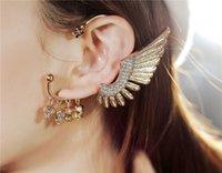 Wholesale Hot Selling angel wings earrings No pierced skull pendant earrings angel charms drop earrings fashion jewelry China