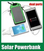 Wholesale Green color Solar Panel Charger dual USB port Mobile Power Bank Backup External Battery Charger For all cell phone Nokia Samsung OTH013