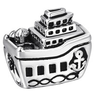 Wholesale Silver Beads Boat Liner European charms fit Pandora Snake chain Bracelets Jewelry