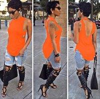 achat en gros de femme chemises oranges-Les femmes noires de dessus de mode de femmes 2016 femmes de style d'été couvrent le dessus ouvert sexy de femmes de T de chemises de dessus de T VD8077