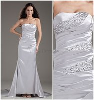 Cheap Custom-made ! Elegant A-Line Stretch satin Strapless Sleeveless Beads Pleats Floor-Length Court Train Lace-up Wedding Formal Evening Dresses