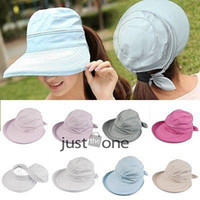Wholesale Casual Womens Foldable Anti UV Wide Big Brim Outdoor Summer Beach Sun Hat Cap New arrival
