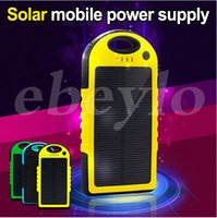 Wholesale 5000mAh Portable USB Port Solar Power Bank Charger External Backup Battery With Retail Box For iPhone iPad Samsung Mobile Phone Smartphone