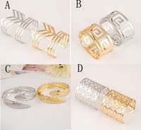 Wholesale 2015 fashionable Metal Hollow Bracelet Pretty Wide Alloy Hand Chain Four Styles Two Colors Are Optional