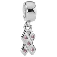 Cheap Wholesale Breast Cancer Awareness Ribbon Pendant Charm 925 Sterling Silver Bead Fit Snake Chain Bracelets European Charms