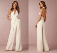 beach wedding outfits - Modest Wedding Dress BHLDN Outfit Halter Sleeveless A Line Simply Sexy Backless Satin Bridal Dress Custom Made