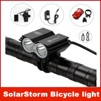 Wholesale SolarStorm Lm x CREE XML U2 LED Front Bicycle Bike HeadLight Headlamp Light Battery Pack Charger Tail lights