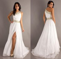 Wholesale 2015 New Arrival Sexy Long White Prom Party Dresses One Shoulder Side Slit Crystal Beaded Gold Belt Evening Gowns Ball Gowns A Line