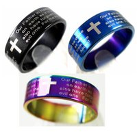 mens rings - English Lords Prayer Cross Stainless Steel Rings Mens Jewelry