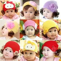baby kids wig - Hot Autumn Winter Baby Bowknot Flower Rabbit Bear Hair Wig Knitted Hats Cute Warm Candy Crochet Caps For Kids Girls