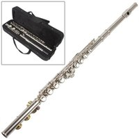 Wholesale High Quality Silver Plated Closed Holes C Key Flute with Case Cloth Screwdriver MIA_601