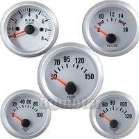Wholesale 2 mm Blue LED Oil Pressure Water Temp Volt Tacho Gauge Meter White Case