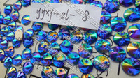 Wholesale Unique Blue AB Color Acrylic Sew on Round Rhinestones Beads yyxy sl Loose Beads Stones Strass Crystals Craft Crystals