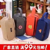 Wholesale The Avengers Pencil Bag Fabric Zippers Pencil Case Children s Pen bag Stationery bags Students tool bag L0338A