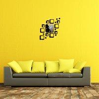 Cheap 18 Squares Mirror Wall Sticke Clock Combination Set Movement Decoration Three-dimensional Home DIY Crystal Sticker Black