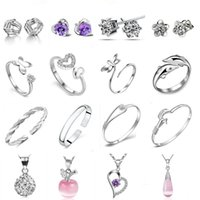 Wholesale 925 Sterling Silver Jewelry sets Crystal Earrings Rings Bracelets Necklaces for Women Girl Party Jewelry ERBN