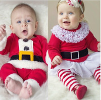 Girl baby santa suits - free UPS fedex ship Santa Suit Cute Baby Suit Children s Outfits Christmas Clothes New Year Sets Kids Fashion Christmas Outfits