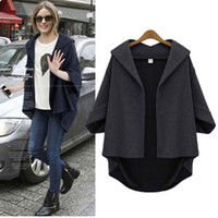 Wholesale Brand New Women Autumn Winter Jackets V Neck Asymmetric Length Jackets for Women Batwing Sleeve Women Cardigans Open Stitch