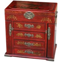 Wholesale New Large Red Chinese Painted Lacquer Bedroom Furniture Box have with Mirror