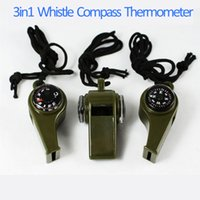 Wholesale New Arrival New black Whistle Compass in1 Survival Camping Thermometer new brand