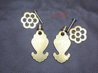 Wholesale 2sets furniture pull brass copper drawer Knobs fish Handles ornate swing