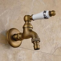 basin oil - Antique Gold Oil Rubbed Bronze Garden Faucet Laundry Mop Sink Washing Machine Basin Faucets Water Cold Tap Ceramic Handle F