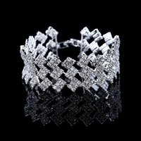 Wholesale 2015 Bridal Wedding Row Silver Clear Cubic Zirconia Bracelets Fashion Engagement Jewelry Bride Gift
