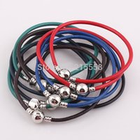 Wholesale NEW Snap Clasp Real Leather Bracelet Bangle Wristband Fit for European Charms Beads JJAL B177