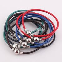achat en gros de charme européen cuir bracelets de perles-NOUVEAU Fermoir Snap véritable Bracelet bracelet en cuir Bracelet pour les charmes européens Beads Vente en gros JJAL B177