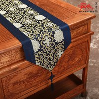 Wholesale Elegant Gorgeous Patchwork Chinese knot Feast Table Runner Silk Brocade printed Tea Table Cloth High Grade Bed Runners cm Multicolor