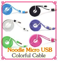 Wholesale NEW Micro USB Cable Sync Data Charging m m m Cord Flat Woven Fabric Dual Colors for Samsung Galaxy S3 S4 S5 HTC Blackberry DD03