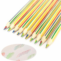 Wholesale Wood Rainbow Pencils Multicolor Note Art Drawing Painting Pens Kids Funny Gadgets Novelty toys School Supplies in
