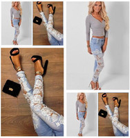 wholesale blue jeans - S XXXL Women Long Skinny Denim Pants Jeans With White Sexy Spliced Hollow Out Lace For Ladies Blue Color Plus Size