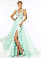 Cheap Aqua Halter Neck Beaded Side Slit Open Back Prom Dress 2015 Chiffon Lace Appliques Prom Gowns Floor Length Custom Size 2-16