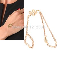 Wholesale Cool Snake Pendant Girls Lady Bracelet Bangle with Ring Stylish Gold HB88