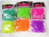 Cheap DIY glow in the dark loom bands refill 6 color rubber bands for loom kit 600 loom bands+24 S clips fedex free shipping 500bag