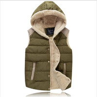 Wholesale Fall Mens Hooded Vests Autumn Thick Warm Men s Coats Fashion Solid Male Vests Multicolor Sleeveless Jacket Man Outdoor Vests Winter