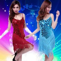 latin dress - Stage Dance Wear Women Latin Dress Women Latin Costume Dresses Tango Dress Samba Skirts Fringe Dancewear Color Red Blue White