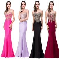 Wholesale Only Cheap Sexy Mermaid Prom Dresses Sheer Jewel Neck Appliques Sleeveless Long Formal Evening Dresses robe de soiree CPS262