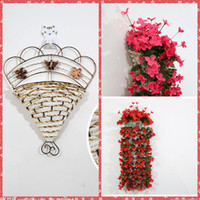 hanging flower basket - Cheap Sale Flowers Basket Artificial Home Garden Hotel Wedding Party Decoration For Flowers Wall Built Up Hanging Basket Whole Sale
