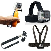 Wholesale Gopro Monopod Tripod Mount Adapter Float Bobber Handheld Stick Chest Belt Head Strap For all Gopro Hero4 SJ4000 Accessories