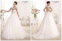 Wholesale 2016 Tarik Ediz White Wedding Dresses Designers Online Sexy Sheer Scoop Long Sleeve Open Back A Line Chapel Train Applique Lace Tulle Gown