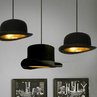 al por mayor casquillo bretaña-Al por mayor-modernos candelabros franela Bretaña estilo Jeeves Wooster sombrero de copa Colgante planas Luces capitalización envían los blubs LED