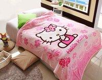Wholesale 70 cm Hello Kitty Coral Fleece anime Blanket on Bed fabric cobertor mantas Bath Plush Towel Air Condition Sleep Cover bedding