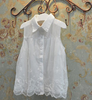 embroidered chiffon lace - Korean Style Girls Summer Lace Chiffon Vest Skirt Kids Lapel Buttons Shirts Sleeveless Dressy Child Embroidered Clothing cm E1383